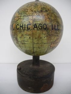 "J. Schedler's.Terrestrial Globe 3 inches Diam. Prize Medal Paris Expo., Rare "" World's Columbian Exposition, Chicago, Ill. 1893"" Miniature globe on unique pencil sharpener base, Globe Maker: J(oseph) Schedler (Published: J(oseph) Schedler 1893 New York)"