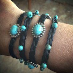 Black horse hair 4 strand braids and turquoise  bracelets