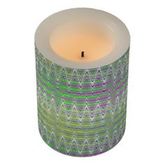 Flameless LED Candle Colorful zigzag pattern design #zazzle #gifts #candles