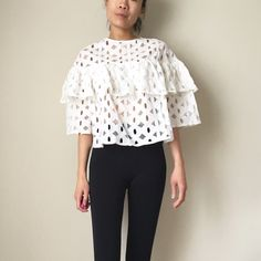 Pattern lace flouncy top. Oversize loose fit ✳️SALE✳️ Light pattern lace top. Tiered . The shape of repetition number 8 pattern. Bold and absolutely beautiful. Size m 57cm in length . Wide on the side . For loose oversized look. Tops Blouses