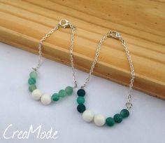 Bracelet orné de perles en porcelaine et d'Agathes. par CreaMode