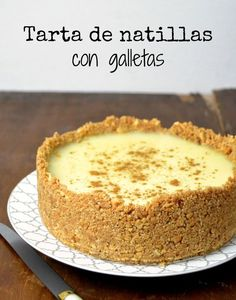 Tarta de natillas con galleta. Remplazar láminas de gelat por polvo hidratado con una cuchrdta de agua hirviendo Cuban Recipes, Sweet Recipes, Cake Recipes, Dessert Recipes, Yummy Treats, Yummy Food, Sweet Treats, Mini Cakes, Cupcake Cakes
