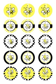 Royal Icing Templates, Soap Labels, Image Sheet, Bottle Jewelry, Bee Party, Bottle Cap Crafts, Bottle Cap Images, Bee Design, Bee Theme