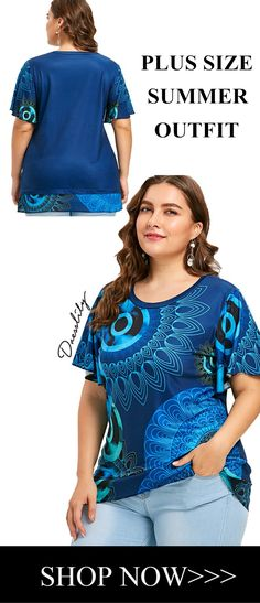 Up to 70% off. Free shipping worldwide.Plus Size Short Sleeve Overlap T-shirt. Material: Polyester,Spandex  Shirt Length: Long  Sleeve Length: Short  Collar: Round Neck  Style: Casual  Season: Spring,Summer  Pattern Type: Print  Weight: 0.2250kg  Package Contents: 1 x T-shirt #tshirt#plussize#summer#dresslily#tops#outfits#women