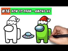 How To Draw Among Us Character (with Christmas hat) - Easy Step By Step Tutorial - YouTube Character Drawing, Game Character, What Should I Draw, Cool Easy Drawings, Directed Drawing, Christmas Hat, Drawing Lessons, Step By Step Drawing, I Don T Know