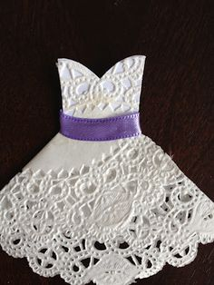 Quiet and Colorful: DIY Doily Wedding Dresses Nice for the invitations!