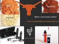 Show your team colors for the Texas Longhorns. #Younique #MineralPigments #3DFiberLashes #LucrativeLipGloss www.DollFaceSisters.com