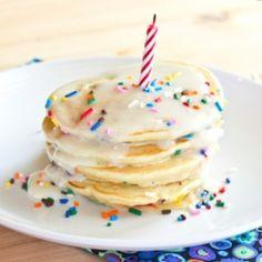 birthday cake pancakes for the boys birthday breakfast Birthday Cake Pancakes, Pancake Cake, Cool Birthday Cakes, Birthday Fun, Sons Birthday, Birthday Ideas, Breakfast Recipes, Dessert Recipes, Desserts