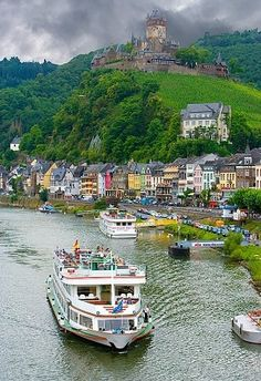 The Mosel River with Cochem Castle in the background, Cochem, Germany