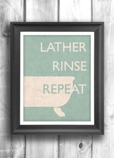 Typographic Poster, Bathroom Wall Art, Digital Print Wall Sign, Washroom Wall decor, Home Decor, teal, cream - 11x14 - Typography.