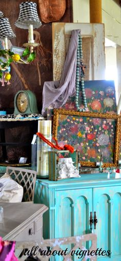All About Vignettes: Turquoise, Green, and Pops of Yellow