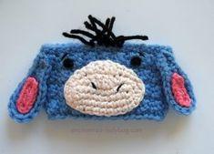 Free Crochet Eeyore Coffee Cup Cozy pattern by The Enchanted Ladybug