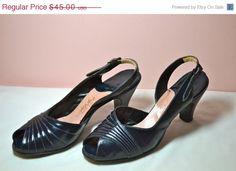 CIJ Sale Vintage 50's Air Step Peep Toe Sling Back by Medicinew1, $40.50