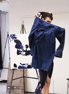Yves Klein model in International Blue Klein