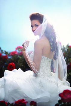Princess Belle wedding veil, from the Disney's Fairy Tale Weddings by Alfred Angelo collection - Style 103 #wedding #veil