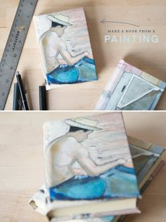 transforming a canvas painting into a notebook | project by Alexis Birkmeyer via Oh Happy Day