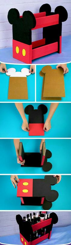 Make yourself a Mickey Mini Bookshelf, easy to make, inexpensive, with . Diy Crafts Hacks, Diy Home Crafts, Diy Arts And Crafts, Creative Crafts, Fiesta Mickey Mouse, Mickey Party, Mickey Mouse Birthday, Minnie Mouse, Disney Diy