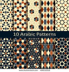 Find Set Ten Seamless Vector Arabic Geometric stock images in HD and millions of other royalty-free stock photos, illustrations and vectors in the Shutterstock collection. Thousands of new, high-quality pictures added every day. Geometric Patterns, Geometric Art, Textile Patterns, Textile Design, Fabric Design, Print Patterns, Islamic Art Pattern, Arabic Pattern, Vector Pattern