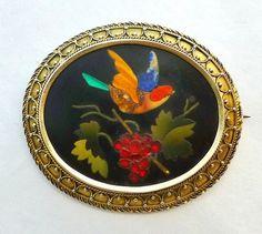 ANTIQUE PIETRA DURA SILVER GILT BROOCH -BIRD AMONGST THE VINES | eBay