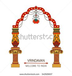 Fantasy luxuriously decorated archway on white background.Travel vacation poster.