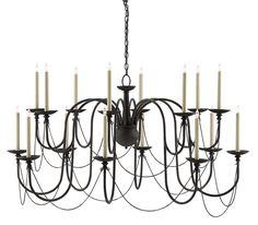 16 Light Chandelier Beautifully curved arms slope down and then up to 16 candelabra lights. A Mole Black finish and ajoining wire accents create an elegant silouette.