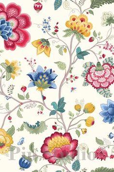 Show details for Floral Fantasywallpaper white