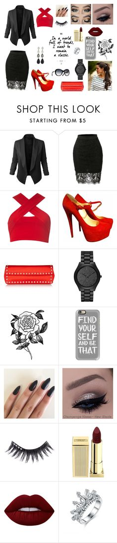 """Classic"" by mayra-patinolol on Polyvore featuring LE3NO, Motel, Christian Louboutin, Valentino, Michael Kors, Forever 21, Casetify, Manic Panic, Lipstick Queen and Lime Crime"
