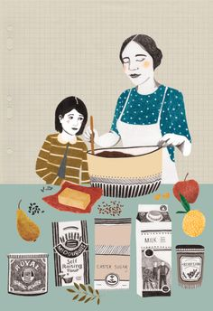 a baking adventure with Mother ~  Illustration for RedMagazine > http://www.liekeland.nl
