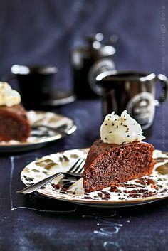 Chocolate  cake with black sesame  seeds & white chocolate bourbon cream by diddi b, via Flickr
