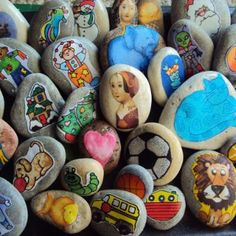 Make a set of story stones for your play room or classroom! So easy and fun! Great as story telling aides, and super for creative, imaginative play! Summer Crafts, Fun Crafts, Crafts For Kids, Arts And Crafts, Rock Crafts, Summer Fun, Make Your Own Story, Cut Out Pictures, Fabric Pictures