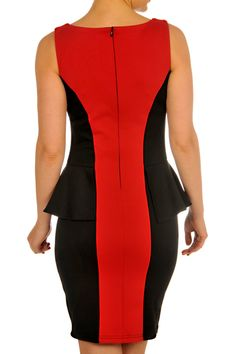 F3028005-Black_Red-back Fall Collections, Peplum Dress, Red, Black, Tops, Dresses, Fashion, Gowns, Moda
