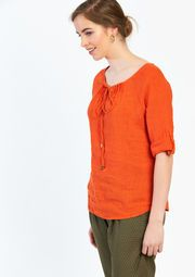 Lola Liza Linnen hemd blouse oranje orange