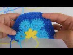 How To Crochet A Half Hexagon African Flower Motif - YouTube
