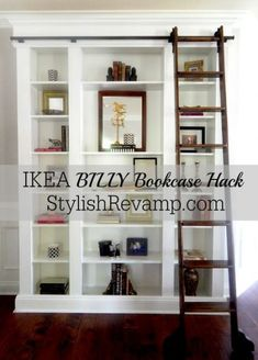 IKEA BILLY Bookcase Hack 1 omg I have always wanted a built-in bookcase with a ladder. Ikea Billy Bookcase Hack, Built In Bookcase, Billy Bookcases, Ikea Billy Hack, Bookshelves Ikea, Bookcase With Ladder, Building Bookshelves, Billy Bookcase Office, Revolving Bookcase