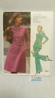 Vintage Vogue Americana Designer Teal Traina With Tag Pattern 2812 Size 16 by SewArtsyCraftsy on Etsy