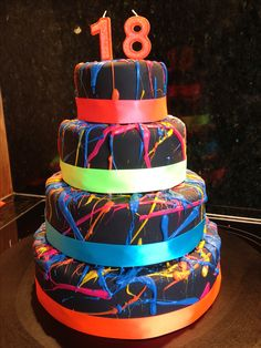 Made for a friends 18th birthday. Fluorescent theme. Cake looked awesome under a uv light.