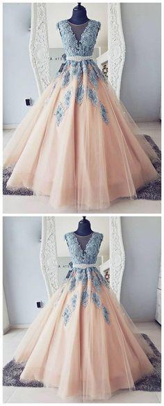 Cap Sleeves Blue Lace Ball Gown Long Evening Prom Dresses, Cheap Sweet 16 Dresses, 18417 · OkBridal · Online Store Powered by Storenvy Cheap Sweet 16 Dresses, Cheap Prom Dresses, Quinceanera Dresses, Modest Dresses, Trendy Dresses, Nice Dresses, Formal Dresses, Dress Prom, Dress Wedding