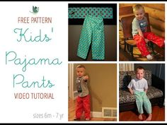 Sew flannel or fleece pajama pants with this free PDF pattern and video tutorial! Sizes 6 months-7 years; for babies, toddlers, and kids!