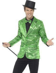 Chaqueta disco verde con lentejuelas lujo hombre 6b494702f99e