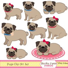 Pug Dog Clip Art Digital Art Instant by BeckyLynnCreations on Etsy