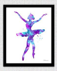 Purple pink aqua ballerina set ballerina print by FluidDiamondArt