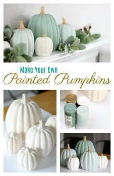 Make your own set of ceramic painted pumpkins to match your fall decor this year! A quick and easy afternoon project. Make your own set of ceramic painted pumpkins to match your fall decor this year! A quick and easy afternoon project. Thanksgiving Diy, Thanksgiving Decorations, Fall Decorations Diy, Thanksgiving Birthday Parties, Harvest Decorations, Thanksgiving Tablescapes, Seasonal Decor, Fall Home Decor, Autumn Home