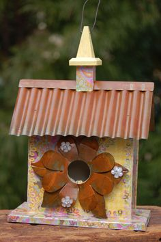 Spring Sunshine Lemon Birdhouse with Copper Roof and Flower Copper Roof, Specialty Paper, Decorative Trim, Wall Crosses, Yellow Painting, Letter Wall, Birdhouses, Keepsake Boxes, Garden Art