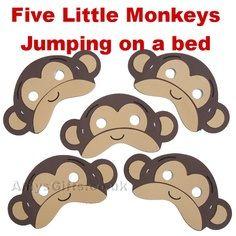 [Preschool Fun] Five Little Monkey Jumping On The Bed Nursery Rhymes Preschool, Nursery Rhyme Theme, Monkey Birthday Parties, 3rd Birthday, Monkey Room, Monkey Mask, Monkey Jump, Monkey Crafts, Curious George Party