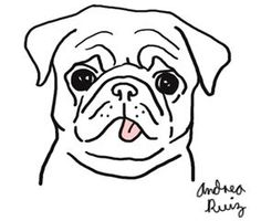 Image result for pug line drawing simple
