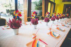 Guest table from a Rainbow Birthday Party on Kara's Party Ideas | KarasPartyIdeas.com (12)