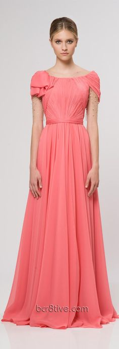 Reem Acra Ready To Wear Resort 2013, beautiful long dress with short sleeves. could shorten the length for a more casual bridesmaid dress!