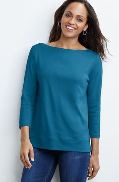 perfect pima seamed boat-neck tee