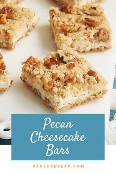 Pecan Cheesecake Bars are a delightful dessert that can be made quickly and easily. One of my favorite go-to recipes for when I need a simple dessert without a lot of fuss. - Bake or Break Pecan Cheesecake, Cheesecake Recipes, Chocolate Cheesecake, Cheap Clean Eating, Clean Eating Snacks, Köstliche Desserts, Dessert Recipes, Bar Recipes, Delicious Desserts