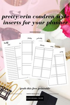 Personalize Your Planner: Week on 4 Pages Tv Planner, Free Planner, Planner Inserts, Planner Pages, Happy Planner, Printable Planner, Planner Stickers, Free Printables, Planner Ideas